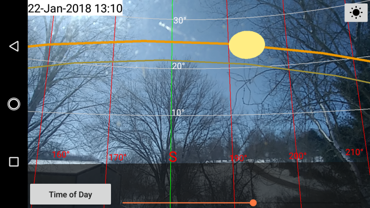 looking south using Sun Locator Pro, mapping the low January 22 sun